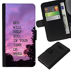 All Phone Most Case / Oferta Especial Cáscara Funda de cuero Monedero Cubierta de proteccion Caso / Wallet Case for Samsung Galaxy Core Prime // BIBLE God Will Help You