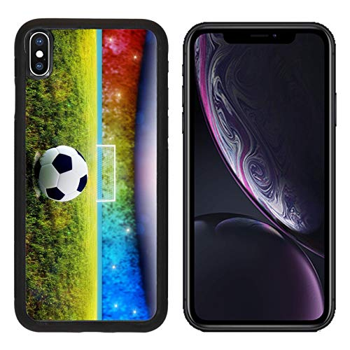 Luxlady Apple iPhone XR Case Aluminum Backplate Bumper Snap Cases Soccer Ball on Penalty Disk in The Stadium Image ID 7127177