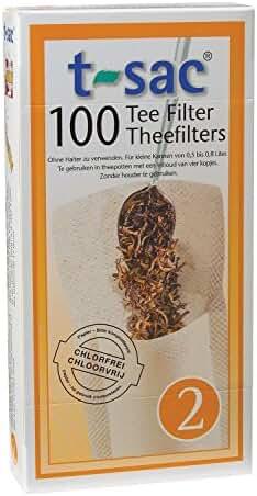 T-Sac Set of 100 Tea Filter Bags, Disposable Tea Infuser, Size 2
