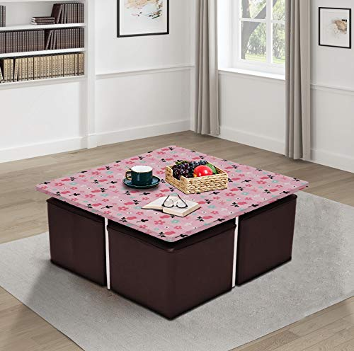 Aart Store 4 Seater Coffee Table Set Center Table with 4 Stool