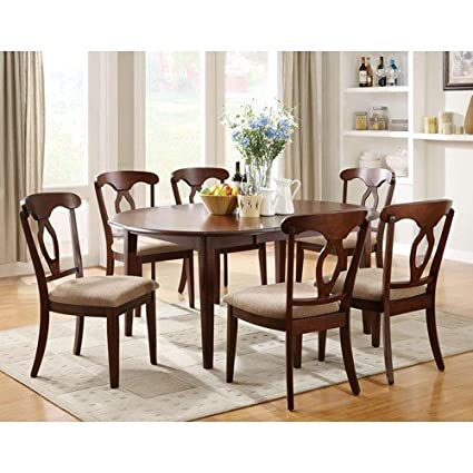 Inland Empire Furnitureu0027s Liam Seven Piece Oval Top Table And Splat Back  Chair Dining Set