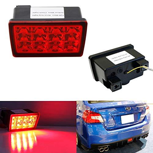 iJDMTOY Red Lens F1 Style LED Rear Fog Light Kit Fit 2011-up Subaru WRX STi, Impreza or VX Crosstrek (with Wire Harness & Mounting Bracket)