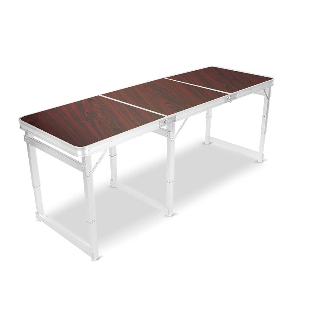 YXX- 屋外の木の折りたたみテーブルキャンプのためのテーブル6フットハンドル&調節可能な高さアルミ脚ヘビーデューティ折り畳みダイニング&コンピュータデスク (色 : ブラウン ぶらうん) B07DRYXF96 ブラウン ぶらうん ブラウン ぶらうん