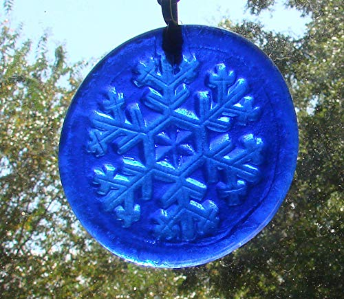 Cobalt Blue Snowflake Handmade Up-Cycled Wine Bottle Bottom Sun Catcher ()