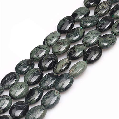 - JOE FOREMAN 12x16mm Rhyolite Kambaba Jasper Semi Precious Gemstone Dark Green Oval Loose Beads for Jewelry Making DIY Handmade Craft Supplies 15
