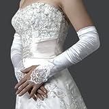Gleader Guanti da sposa lycra senza dita opera lunghezza bianco lungo