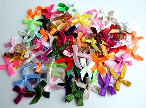 100 Assorted Smallest Satin Ribbon Bows Size 10 mm. Tiny Embellishment Craft Artificial Applique Wedding