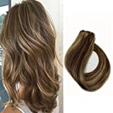 Human Hair Extensions 15 Inch Clip in Hair Extensions 7A Grade Silky Long Hair Pieces for Women, 7 Pcs Per Set, #4/27