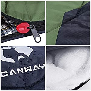 CANWAY Sleeping Bag with Compression Sack, Lightweight and Waterproof for Warm & Cold Weather, Comfort for 4 Seasons Camping/Traveling/Hiking/Backpacking, Adults & Kids (z-Green-Flannel)