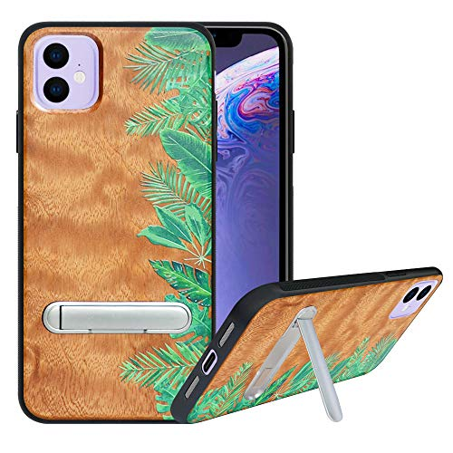 "HHDY Compatible with iPhone 11 (2019) 6.1"" Case with Metal Kickstand, Hard Natural Wood Back with Flexible TPU Bumper, Anti-Scratch, Wooden Cover for iPhone 11 (2019) 6.1"", Rainforest"