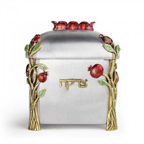 Pewter and Enameled Pomegranate Tzedakkah Box