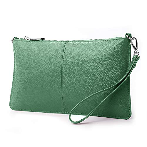 Green Clutch Purse - Lecxci Leather Crossbody Purses Clutch Phone Wallets with Card Slots for Women (Green Leather)