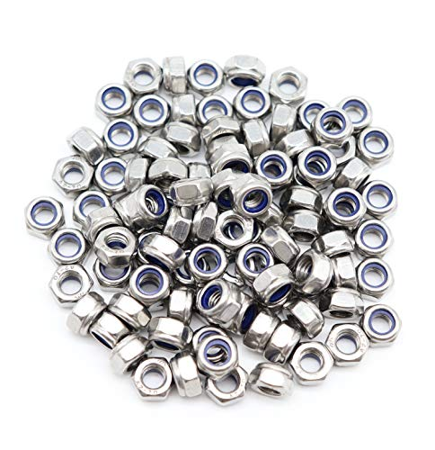 (binifiMux 100pcs 304 Stainless Steel M6-1.0 Nylock Nylon Inserted Self Locking Nut, A2-70 Silver)