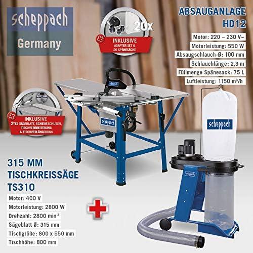 support daspiration HD12 20 sacs corps de rechange SCHEPPACH TS310 Scie circulaire de table 400 V