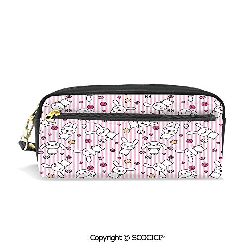 Printed Pencil Case Large Capacity Pen Bag Makeup Bag Loveable Bunnies Numerous Facial Expressions Smiling Winking Sleeping Determined for School Office Work College Travel ()
