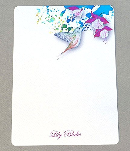 Hummingbird & Fuchsia Contemporary Personalized Flat Note Card Set With Envelopes, Complete Custom Monogrammed Note Cards, Women's Stationery, Girl's Floral Garden Correspondence ()