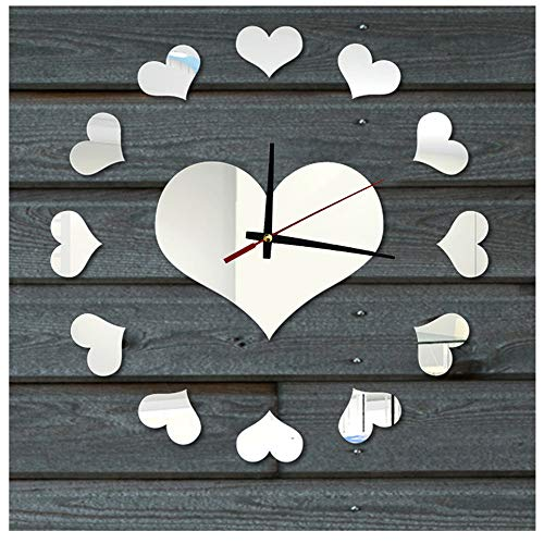 Creative Wall Clock, Loving Heart DIY Clock Self Adhesive Interior Wall Sticker Decoration (Silver) (Clock Wall Heart)