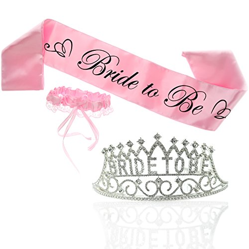 Bride To Be Tiara and PINK Bride To Be Sash and FREE PINK Garter | Premium Bachelorette Party Supplies | 3 Piece Bridal Shower Party Kit | Bride To Be Sash and Elegant Rhinestone Bride To Be Tiara