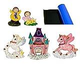 Blue Ribbon 5-Piece Aquarium Ornament Decoration Assortment, Kids Fantasy Castle Theme