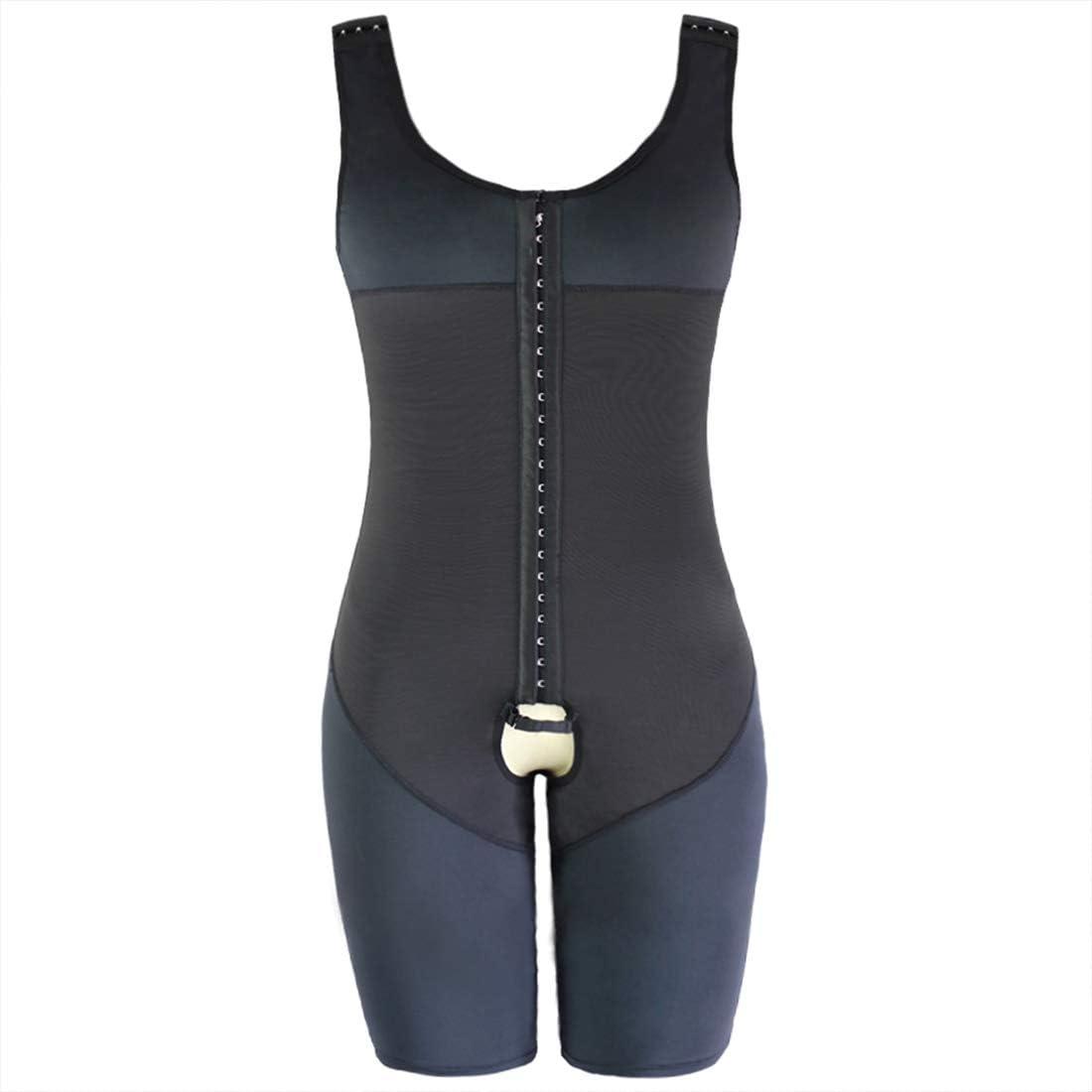 GWELL Mens Shapewear Figure Shaping Bodice Bodysuit Waist Shaper Underwear Shaping Bodysuit with Hook Front Knee Length Large Size