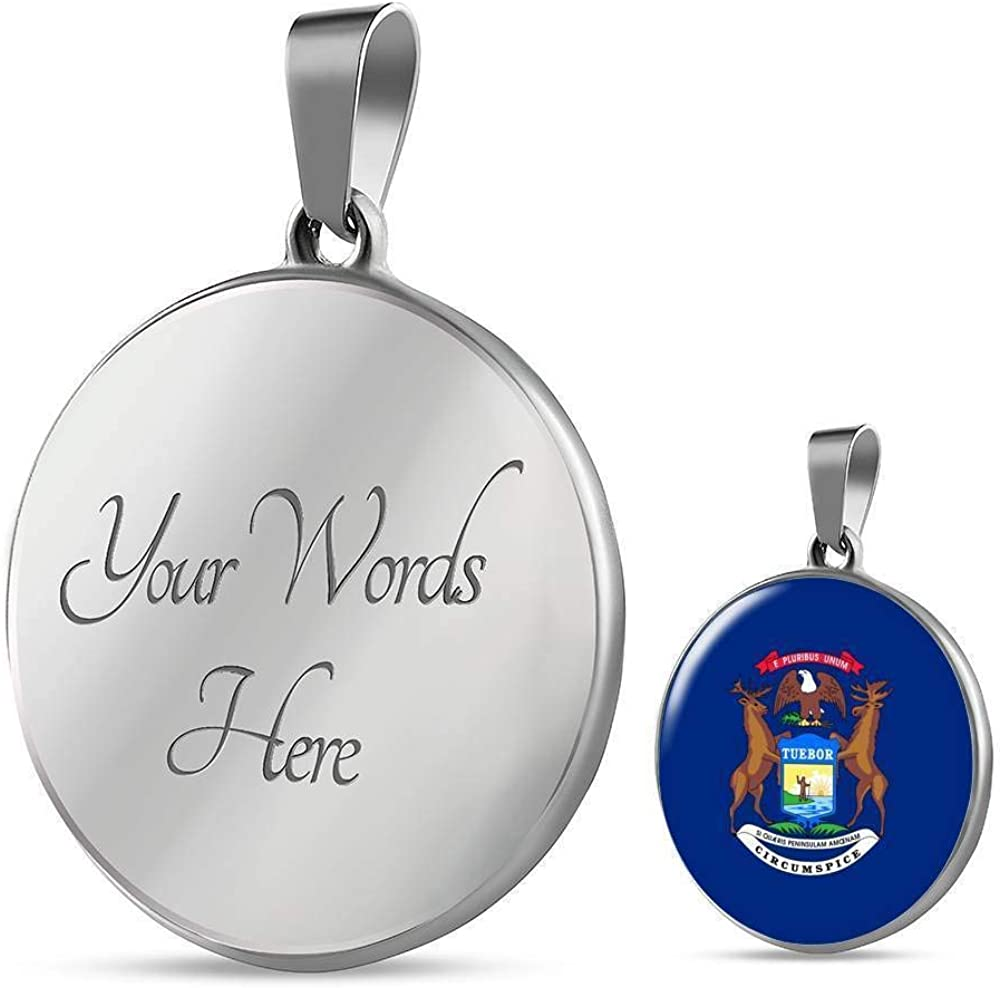 Express Your Love Gifts Michigan State Flag Necklace Engraved Stainless Steel Circle Pendant 18-22
