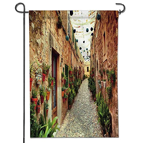 (Jiahonghome Garden Flag House Farm House Spanish Alley with Rock Houses and Plants LatinTourism Mediterranean Cream Green Home Sweet Home Double Sided Decorative Flags for Outdoors 26