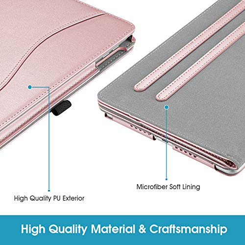 Fintie Case for iPad 9.7 2018/2017, iPad Air 1/2, Portrait and Landscape Viewing Multi-Angle Stand Cover w/Pocket, Pencil Holder, Auto Sleep/Wake for iPad 6th / 5th Gen, iPad Air 1/2, Rose Gold