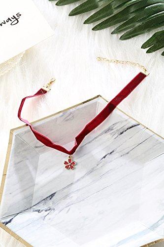 Exquisite Satin Velvet Vintage Cherry Necklace Pendant Girl Women Girls Elegant Mint Green Collar Neckband Students (red Cherry Satin Gold Pendant