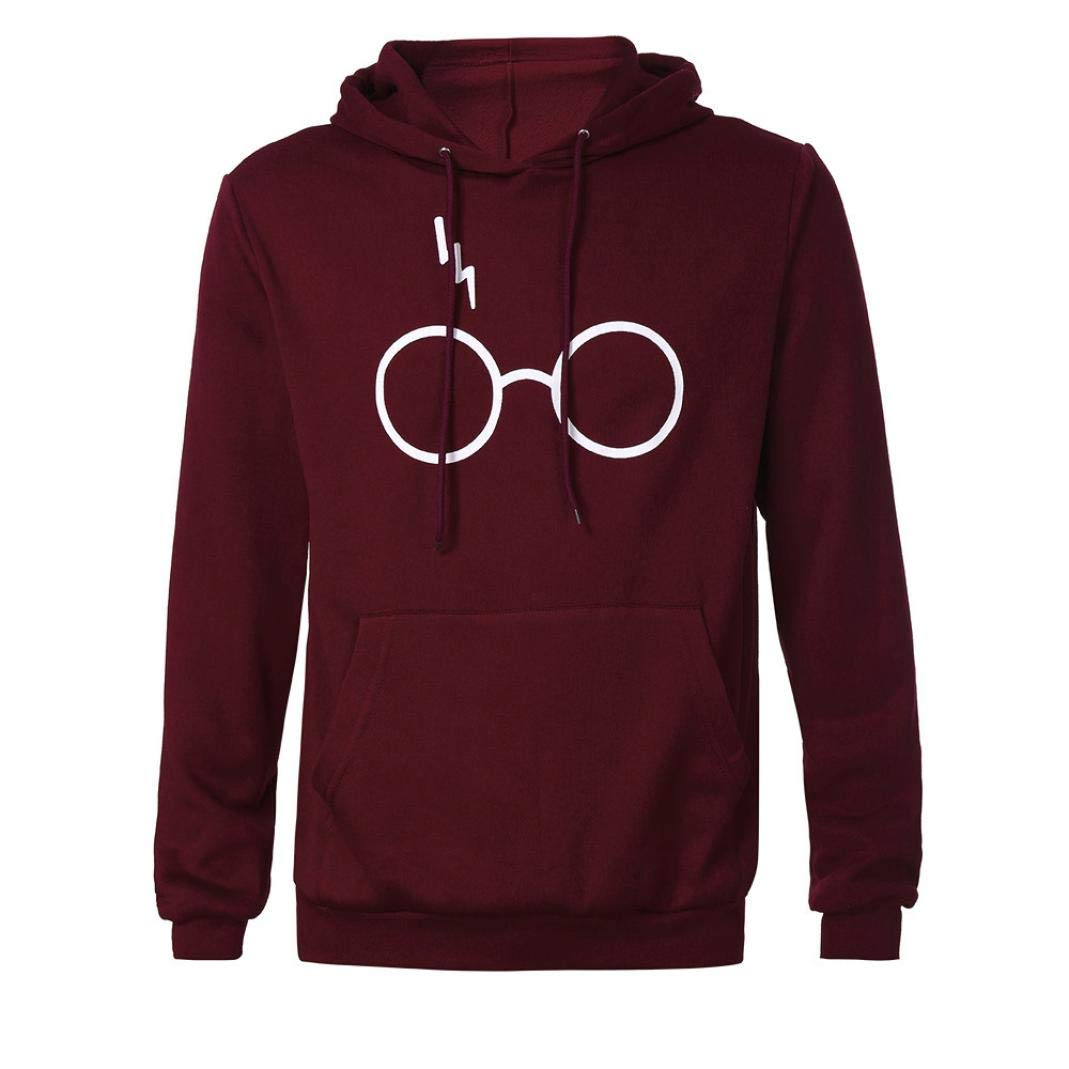 Men's Autumn Casual Harry Potter Print Hooded Sweatshirt Outwear Tops Blouse (Wine Red, L)