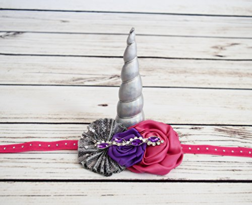 Handcrafted Silver Unicorn Horn Headband - Hot Pink and Purple Unicorn Headband - Toddler Unicorn Accessory - Unicorn Costume -Adult Unicorn