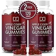 (2 Pack) Organic Apple Cider Vinegar Gummies with The Mother for Immune System - Gummy Alternative to Apple Cider Vinegar Capsules, Pills, ACV Tablets w/Delicious Black Cherry Flavor, 120 Gummy Bears