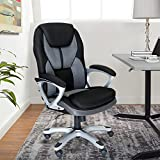 Serta Works Executive Office Chair, Faux Leather and Mesh, Gray/Black