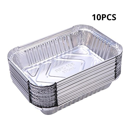 Table Drip Tray (Zaote 10 pcs Disposable BBQ Drip Pan Tray Baking Dishes Aluminum Foil Tin Liners for Grease Catch Pans Replacement Liner Trays Disposable BBQ Plates(300 ml))
