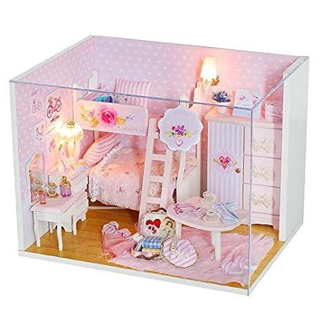 dollhouse furniture diy. YOUDirect DIY Miniature Dollhouse - Furniture House With LED Light \u0026 Music Box Handmade Paint Diy
