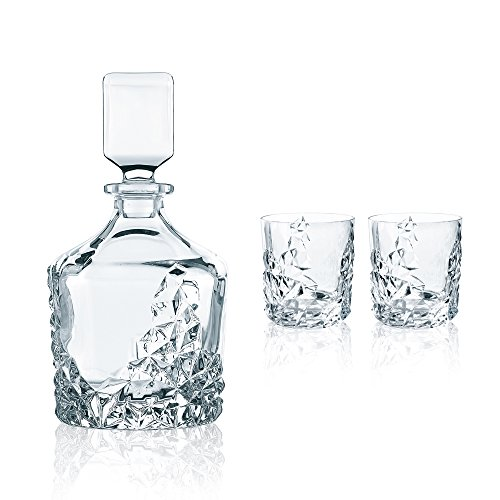 Nachtmann 91900 Sculpture Decanter and Glassware Set, Set of 3, Clear