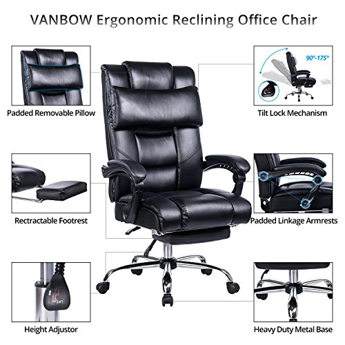 VANBOW Reclining Office Chair - High Back Bonded Leather Executive Chair with Retractable Footrest, Removable Pillow, Adjustable Angle Recline Lock System, Ergonomic Design, Black by VANBOW (Image #1)