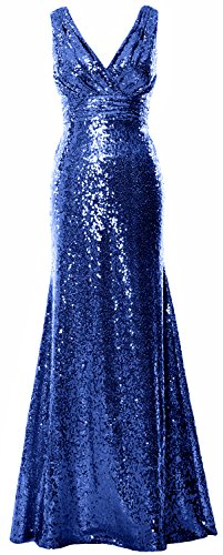 Women Blue Party Maxi Gown Sequin Evening Formal Bridesmaid Royal V Gown Neck MACloth 7IdTq7