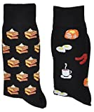 Fine Fit Mens Novelty Trouser Socks 2 Pair Set - Choose Prints (Breakfast & Waffles)