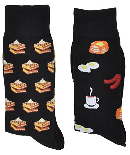 Print Socks (Fine Fit Mens Novelty Trouser Socks 2 Pair Set - Choose Prints (Breakfast & Waffles))