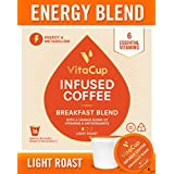VitaCup Energy Blend Gourmet Breakfast 16ct. Top Rated Coffee Cups Infused With Essential Vitamins B12, B9, B6, B5, B1, and D3, Pods Compatible with K-Cup Brewers including Keurig 2.0