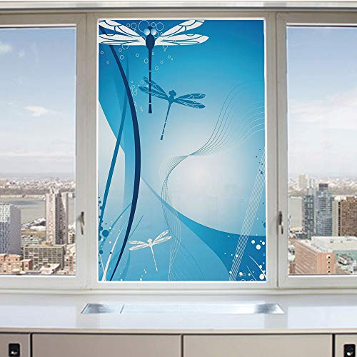 3D Decorative Privacy Window Films,Underwater Sea Life with Coral Nautical with Flying Bugs Nature Image Decorative,No-Glue Self Static Cling Glass Film for Home Bedroom Bathroom Kitchen Office 24x36