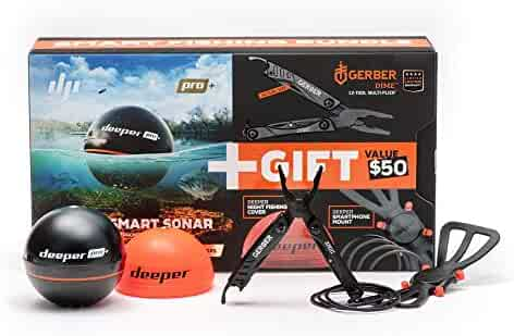 Deeper PRO Plus Fish Finder - Bundled with Gerber DIME Multi-Plier, Night Fishing Cover and Smartphone Mount