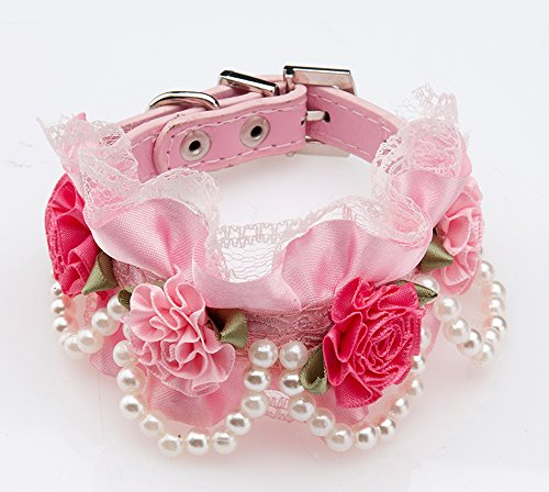 Lovely Baby Beaded Dogs Collars Cute Puppies Lace Flower Design ZQ-QS014-PINK-S