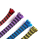 iFlight 13ft -8mm Expandable Braided Sleeving Snakeskin Mesh Wire Protecting Cotton Plus PET Nylon Cable Sleeve for RC Brushless Motor and ESC FPV Quadcopter (4 colors mix)