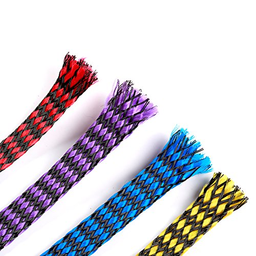 - iFlight 13ft -8mm Expandable Braided Sleeving Snakeskin Mesh Wire Protecting Cotton Plus PET Nylon Cable Sleeve for RC Brushless Motor and ESC FPV Quadcopter (4 Colors Mix)