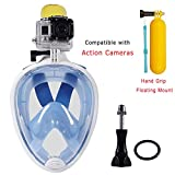 Snorkeling Mask,Seaview 180 Degree Scuba Diving Full Face Free Breath Design Breath Ventilation Concept Anti-Leak Anti-Fog Swimming Mask For Gopro Hero 4/3+/3/2/1 SJ4000 SJ5000 Sports Action Camera (Blue, L/XL)