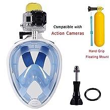 Snorkeling Mask,Seaview and 180 Degree Scuba Diving Full Face Free Breath Design Breath Ventilation Concept Anti-Leak Anti-Fog Swimming Mask For Gopro Hero 4/3+/3/2/1 SJ4000 SJ5000 Sports Action Camera