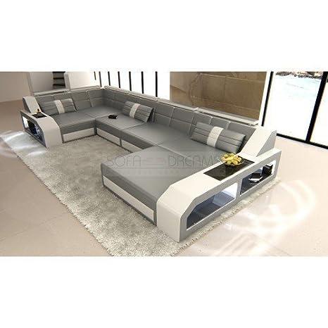 Juego de sofás Arezzo forma de U Gris - Blanco Diseñador ...