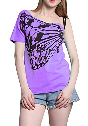 Butterfly Plus Size T-shirt (Women Skew Collar Butterfly Print T-Shirt Blouse (XX-Large, Purple))