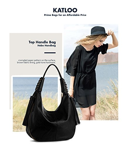 Tote Nail Leather for Purse Women Black Hobo Clipper Katloo Shoulder Bag Vegan Handbag wBfAA0Sq